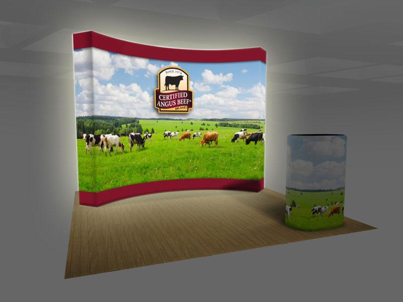 Fabric Pop Up Exhibition Stands : Exhibit design search backlit vburst ft curved