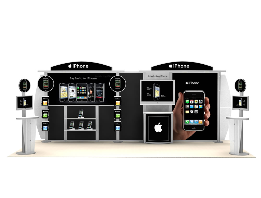 Modular Exhibition Booth : Exhibit design search mod workstation monitor