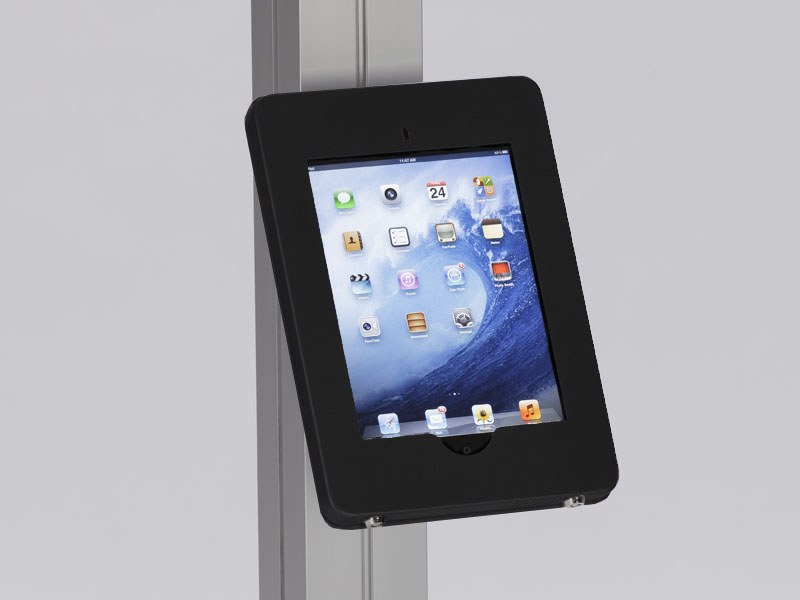 MOD-1317 Locking iPad Clamshell with Extrusion Attachment -- Black