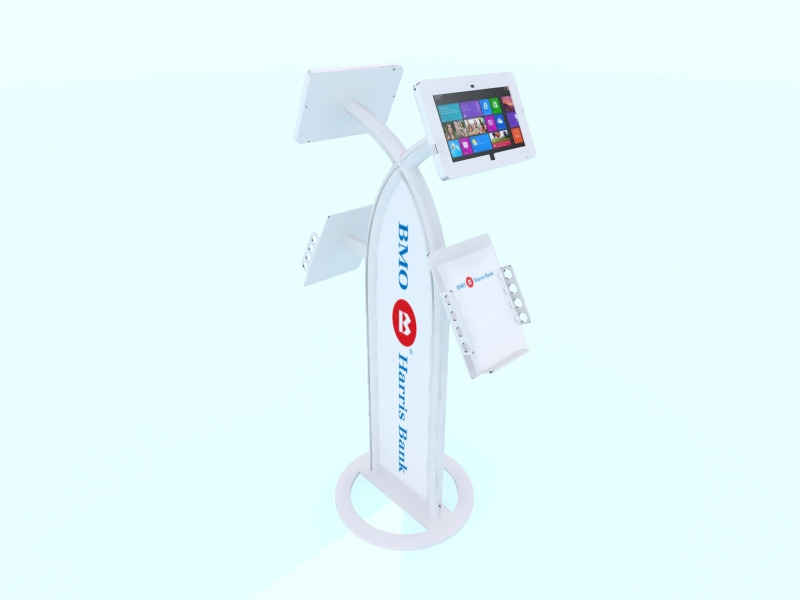 MOD-1355 iPad Kiosk with Literature Holders -- White