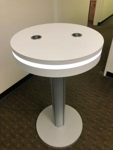 MOD-1462 Portable Charging Table with Wireless and USB Charging Ports and the Optional REB Programmable Lights. Shown w/o the Vinyl Graphic Option