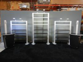 RENTAL: (2) RE-1253 Freestanding Shelf Displays, (1) Modified RE-1253 Freestanding Shelf Display, (2) RE-1223 Tapered Counter Kiosks, and (6) LED Arm Lights