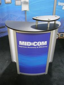 Modified ECO-2029 w/ Modified ECO-5C Podiums, Paradise Fabric Graphics (100% Recycled Content), and LED Lighting -- Image 2