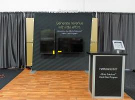 SEG Fabric Exhibit with Monitor Mounts and MOD-1551 Counter