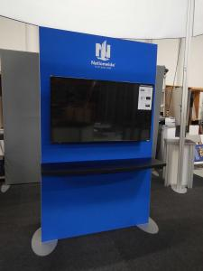 "RENTAL: Double-Sided Kiosk with (2) 55"" Monitors and Large Monitor Supports"