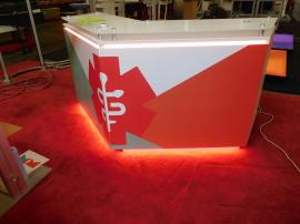 MOD-1557 Custom Counter with Raised Plex Top, Graphics, LED Lights, and Locking Storage