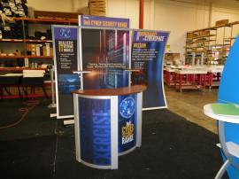 eSmart Modified ECO-1047 Sustainable Exhibit with Fabric Graphics, (2) Additional Shelves, and an ECO-3C Counter
