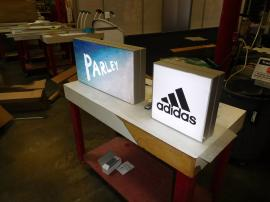 (2) SuperNova LED Lightboxes with Fabric Graphics and Dimmers