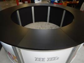 RENTAL: Modified RE-1226 Circular Counter with Added LED Downlighting, Added Hinged Door and Removable Countertop Section, and Interior Platform