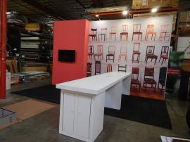 RENTAL: 20' x 15' Custom Gravitee Modular System with 12 ft. High Backwall, Large Monitor Mount, Custom White Laminated Tables with USB Charging Ports, and Silicone Edge Fabric Graphics
