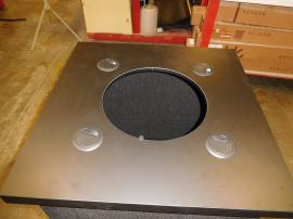 Custom Intro Folding Fabric Pedestal with Grommets and Round Counter Top Opening