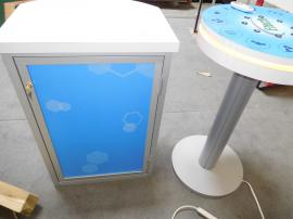 MOD-1442 Small Charging Table with Graphics and RGB Light Option and MOD-1267 Counter with Locking Storage