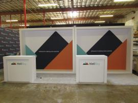 (2) VK-1340 Custom Inline Exhibits with SuperNova Backlit Fabric Graphics and (2) MOD-1563 Counters with Locking Storage