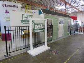 Custom Inline Building Facade with Fence, Shelves, Windows, and Door