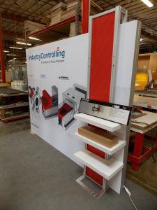 ecoSmart Sustainable Custom Hybrid Exhibit with SEG Fabric Graphic, Shelves, and Monitor Mount