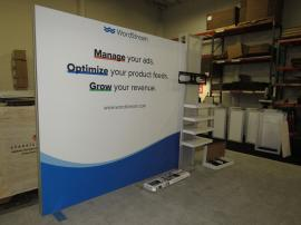 ECO-1066-A ecoSmart Sustainable Exhibit with Aluminum Extrusion Frame, FSC Wood Shelves, Fabric Graphics, and Monitor Mount