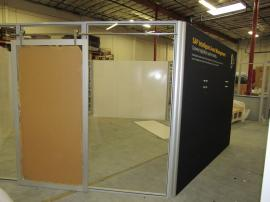 Gravitee Meeting Pod with Sliding Doors, Monitor Mounts, and Graphics (in the shop)