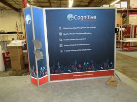 Modified VK-1318 Inline Exhibit with Backlit Corner Graphic, Articulating Monitor Mount, and (2) Literature Trays