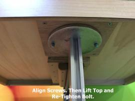 Align Screws. Then Lift Top and Tighten/Secure Bolt.