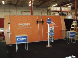 Modified Magellan Miracle Trade Show Display with MOD-1224 Counters and Custom Product Towers -- Image 1