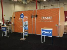 Modified Magellan Miracle Trade Show Display with MOD-1224 Counters and Custom Product Towers -- Image 2