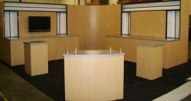 20' x 20' Euro LT Modular Laminate Island Exhibit with LT-132 and LTK-1011 Counters
