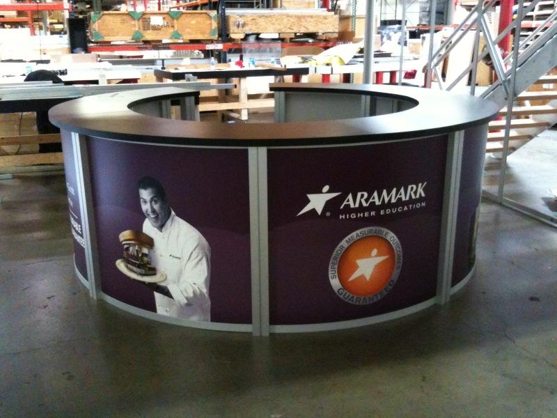Portable Exhibition Stands : Exhibit design search re circular counter rental