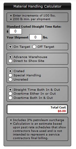 Drayage or Material Handling Calculator