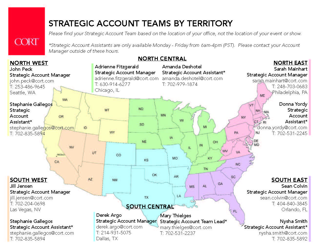 CORT Furniture Account Teams by Territory
