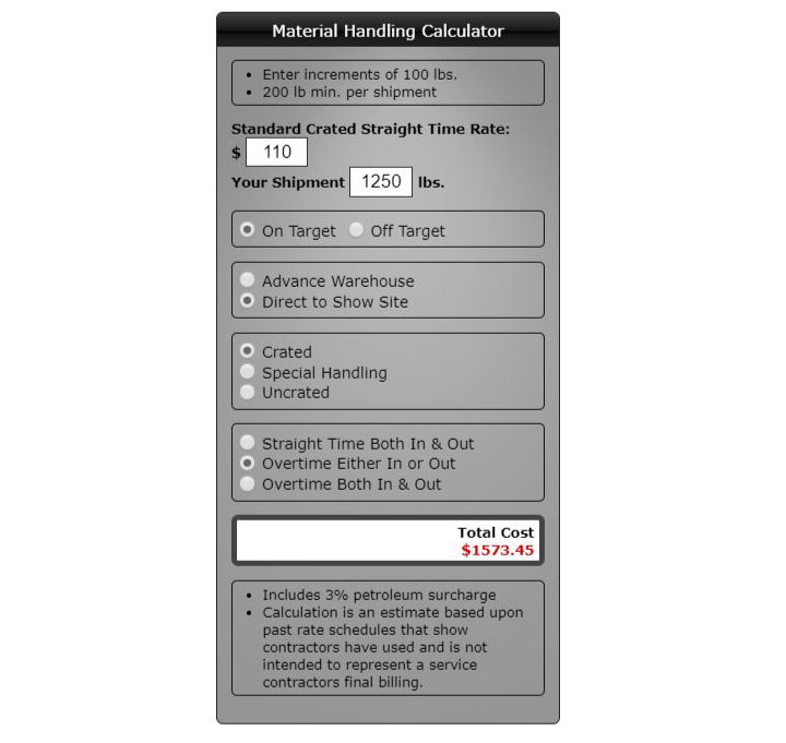 Trade Show Material Handling Calculator (Drayage)