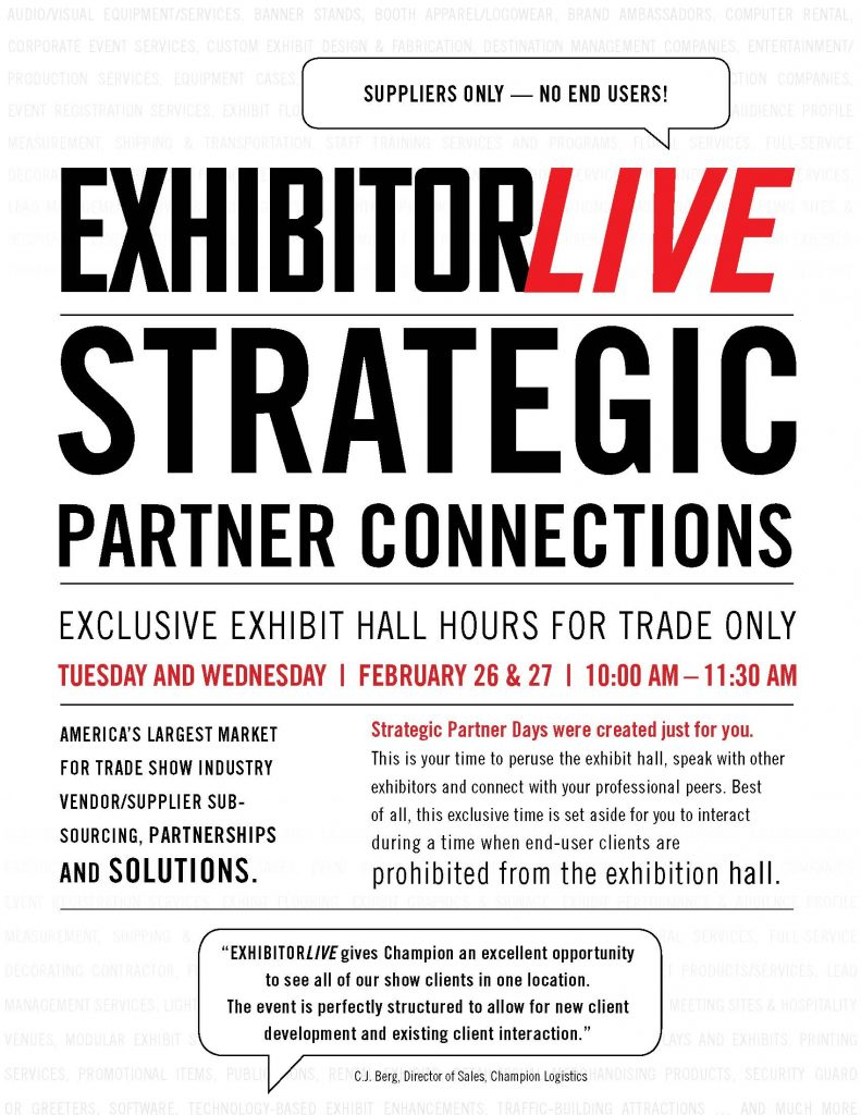 EXHIBITORLIVE Strategic Partner Connection Hours on February 26-27 in Las Vegas