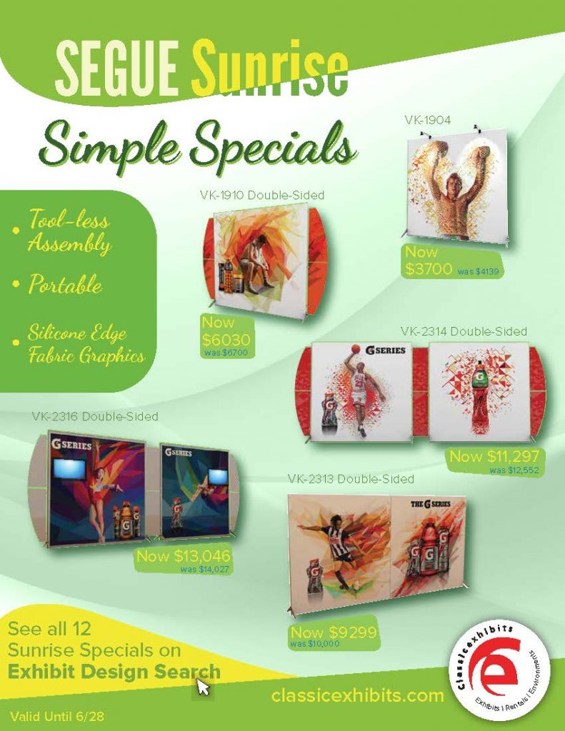 SEGUE Sunrise Trade Show Exhibit Specials