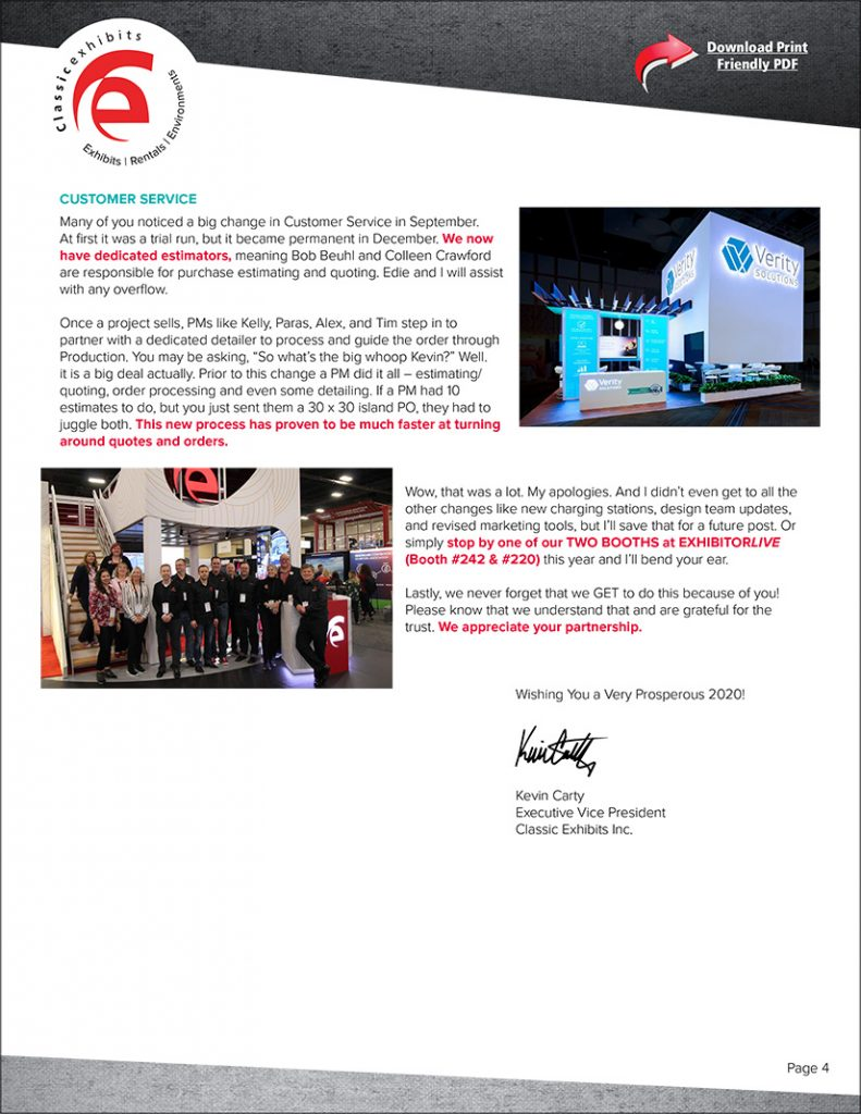 Classic Exhibits State of the Company Letter Page 4