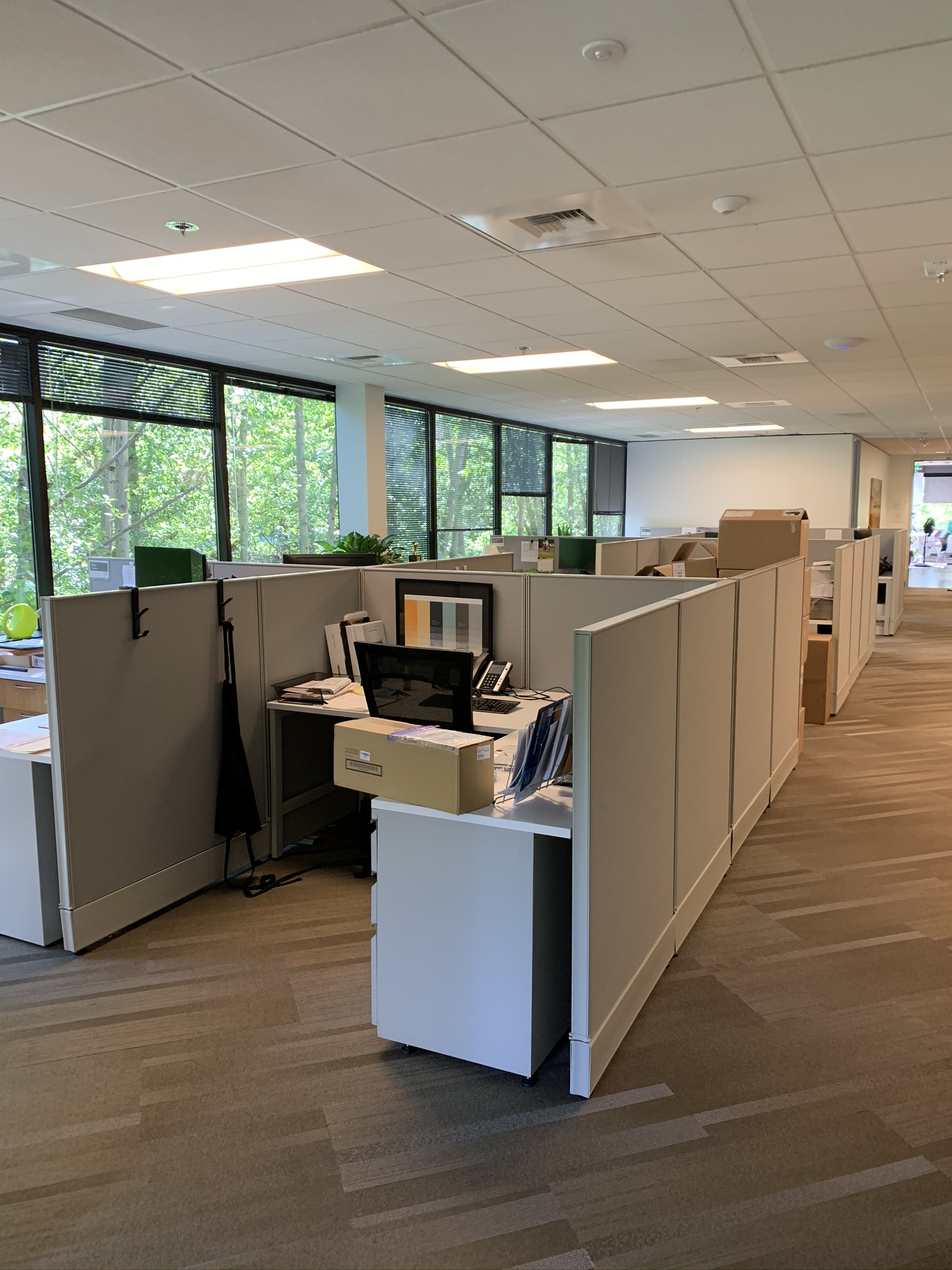 Office without personal protection dividers