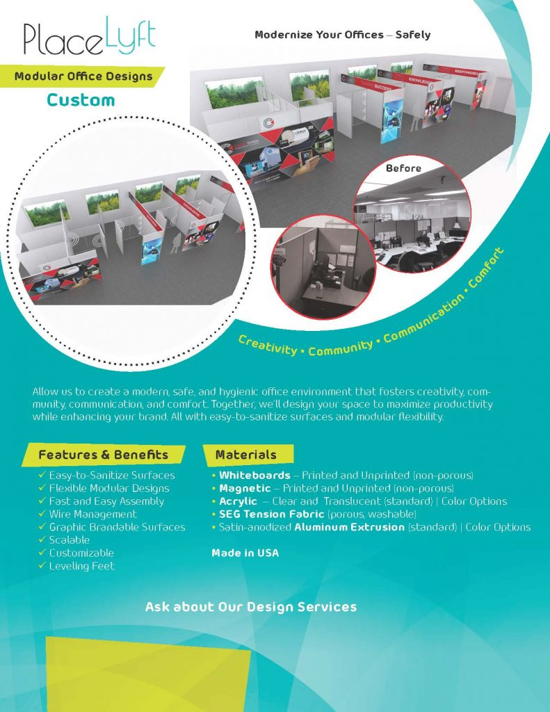 Post-COVID Modular Office Designs with Personal Protection Barriers