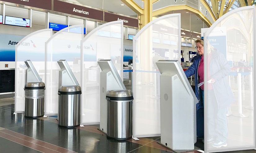 Safety Partitions at Airport Check-in Kiosks
