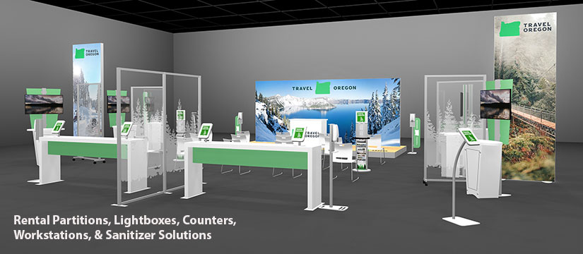 Rental Partitions, Lightboxes, Counters, Workstations, and Sanitizer Solutions
