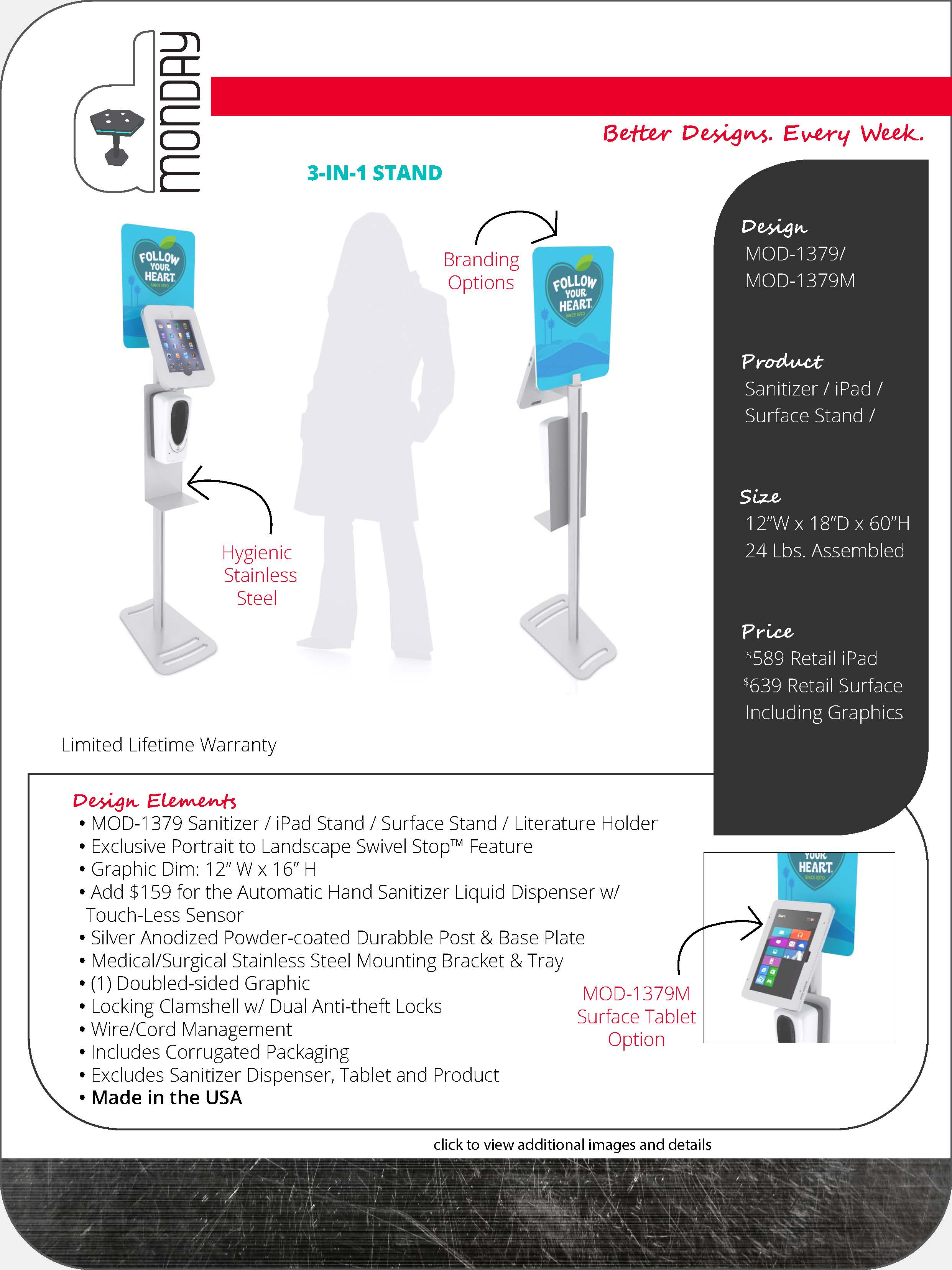 Multi-function Hand Sanitizer Stands with Tablet Option
