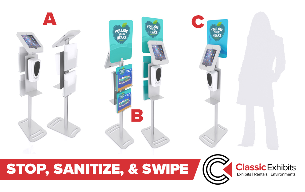 Hand Sanitizer Stands with iPad and Surface Options