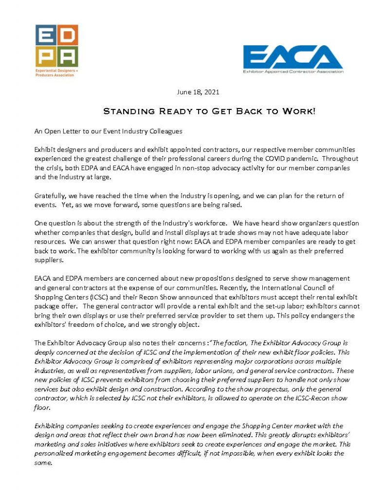 EDPA and EACA Ready to Work Statement