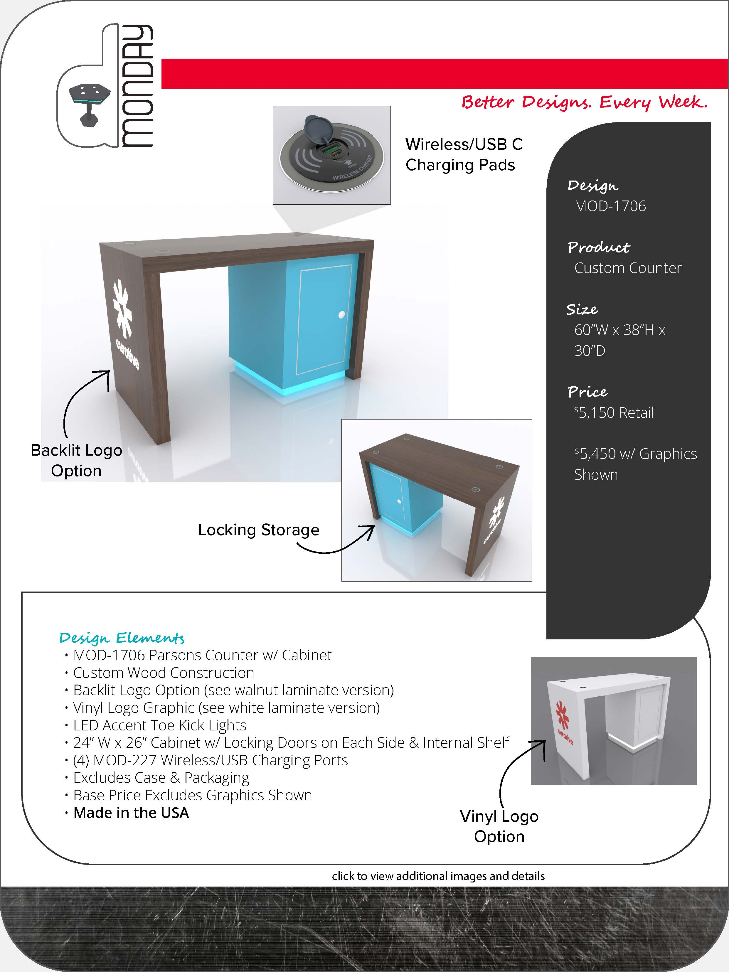Parsons Counter with Locking Storage and Charging Ports