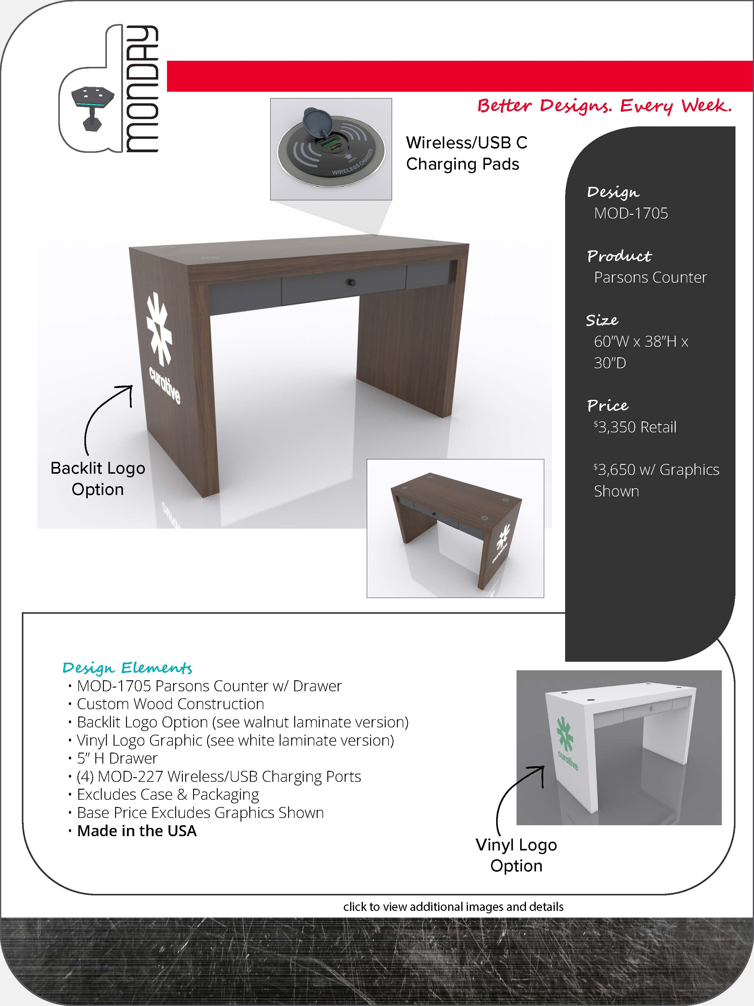 Parsons Counter with Drawer and Charging Ports