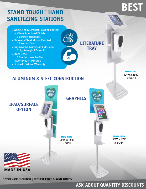 Stand Tough Hand Sanitizer Stands from Classic Exhibits